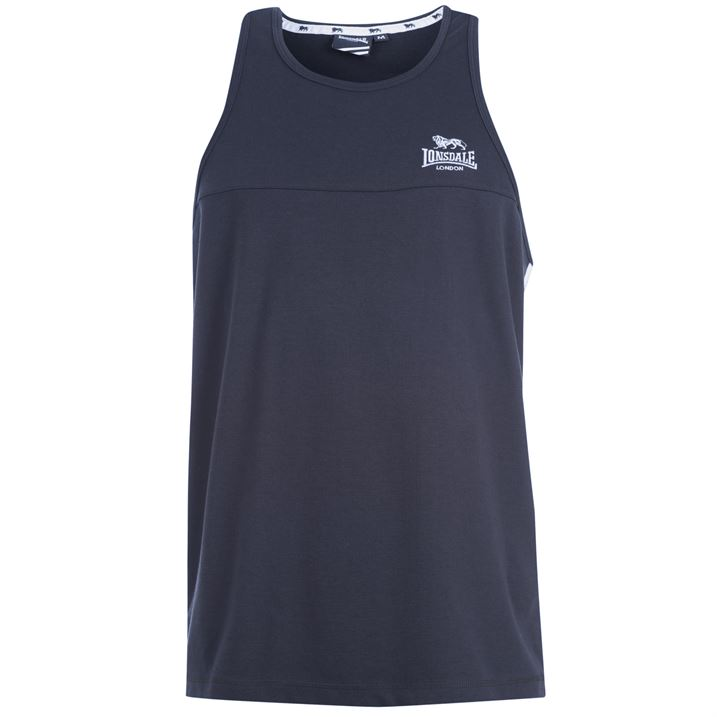 Майка Lonsdale 2 Stripe Muscle Vest Mens синяя
